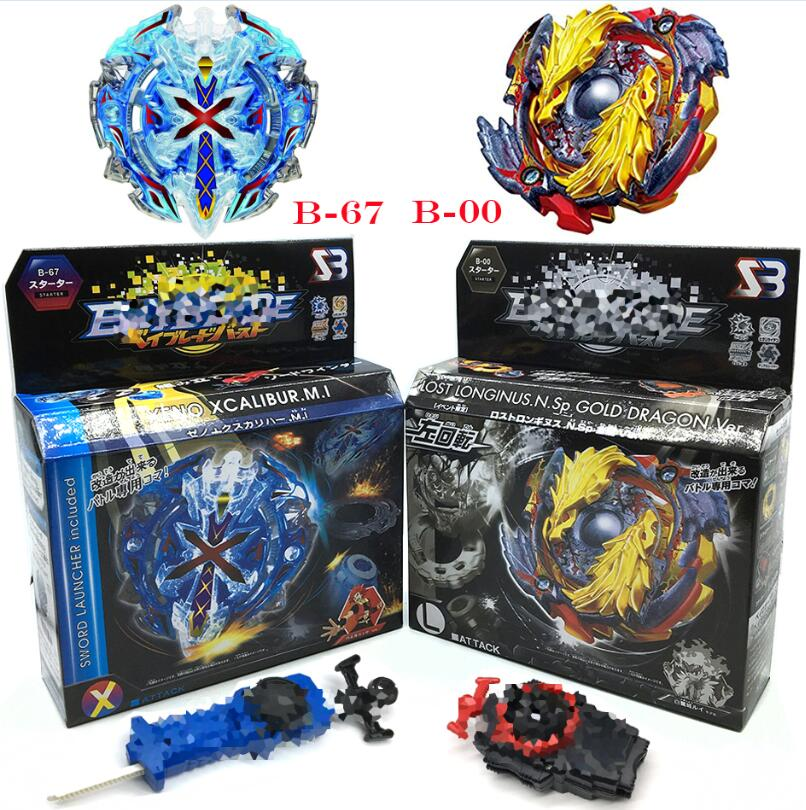 Beyblade Burst Starter Zeno Excalibur B-00 B-67 B-117 B-118 B-115 With Launcher And Retail Box Gifts For Kids original product new beyblade burst starter zeno excalibur bey blade b 104 b 105 b 106 with launcher and box gifts for kids