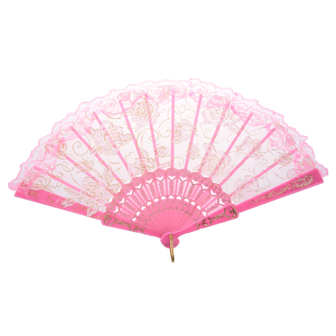 Ultra Pink Plastic Ribs Rose Print Dance Fold Hand Fan