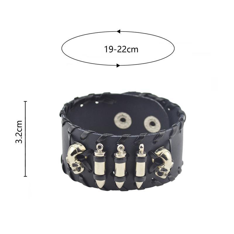 YAKAMOZ Rock Wide Cuff Bracelet Männer geflochtene Nieten breite - Modeschmuck - Foto 4