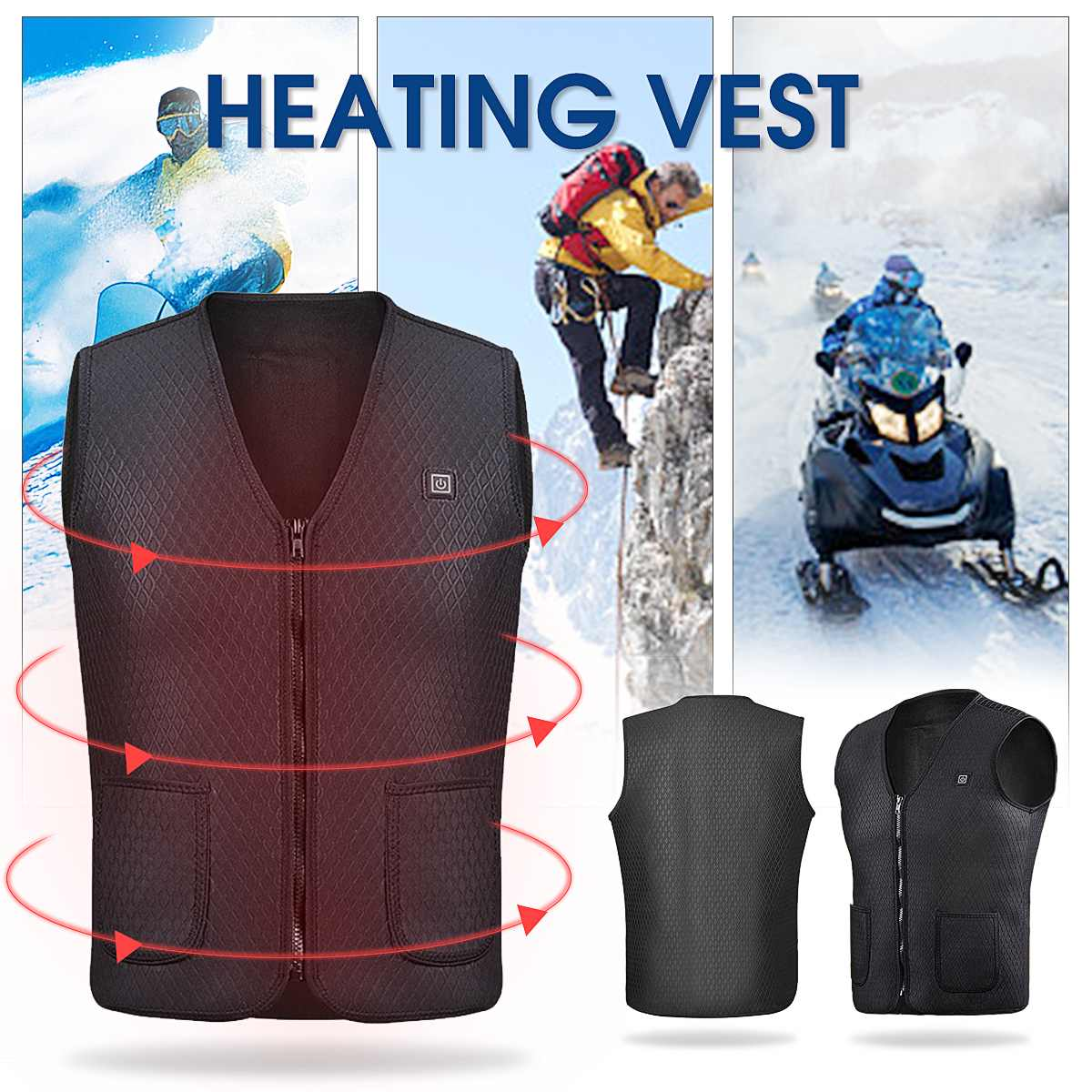 Washable Electric Heated Vest Adjustable USB Charging Heating Jecket Coats Cloth Heating Clothing Winter Warm Black/Green large size autumn and winter men s stand collar heating cotton vest graphene electric vest adjustable usb charging heated cloth