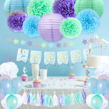 NICROLANDEE Purple Green Blue 54Pcs/Set Baby Balloons Paper Flower PomPom Tassel Set Shower Party Decoration DIY Decor