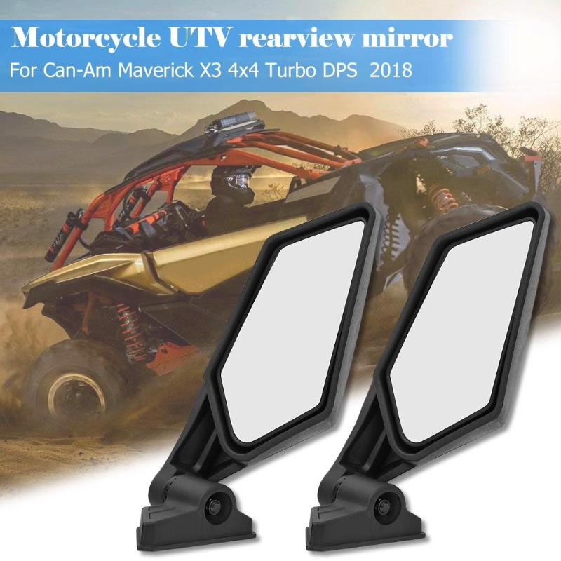 2pcs Rear View Mirrors Adjustable Black Shock Proof Racing UTV Side Mirrors for Can Am Maverick X3 Modification Accessories 2019