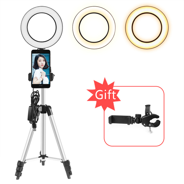 6'' 16cm Ring Light Lamp with Camera Tripod Phone Holder 3000-6500K Three Colors for Make Up  Ring LED Light for YouTube Show
