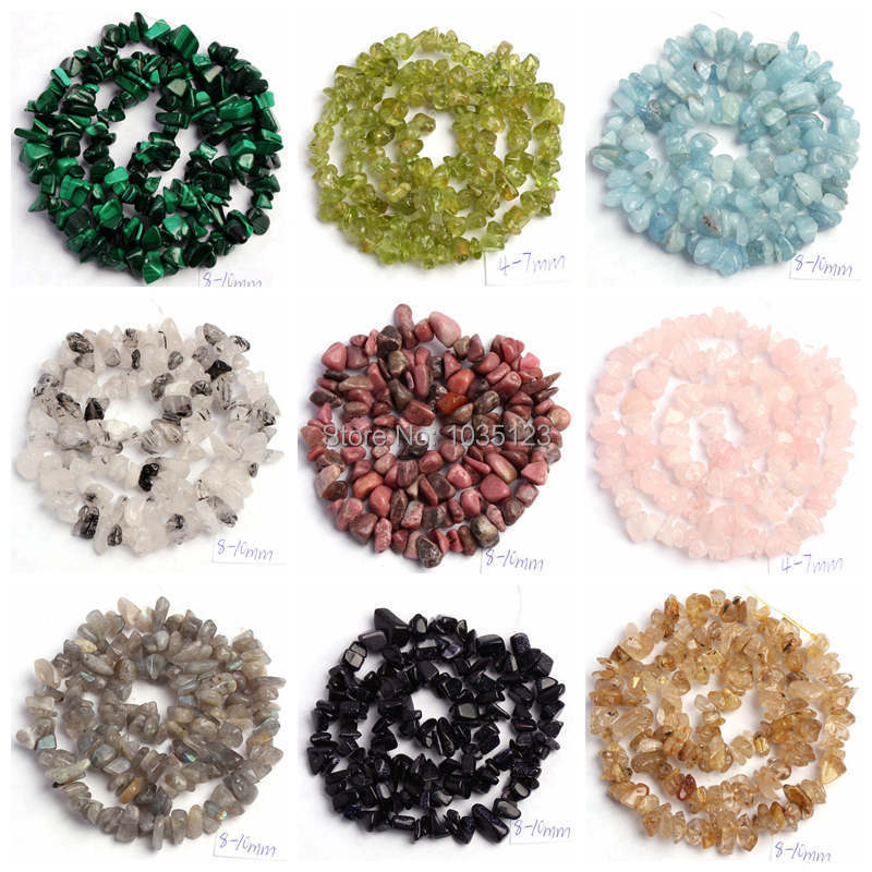 "Free Shipping 5-8mm Natural 18 Type Material Stone Freeform Gravel Loose Beads Strand 16"" Jewellery Making wj69a"
