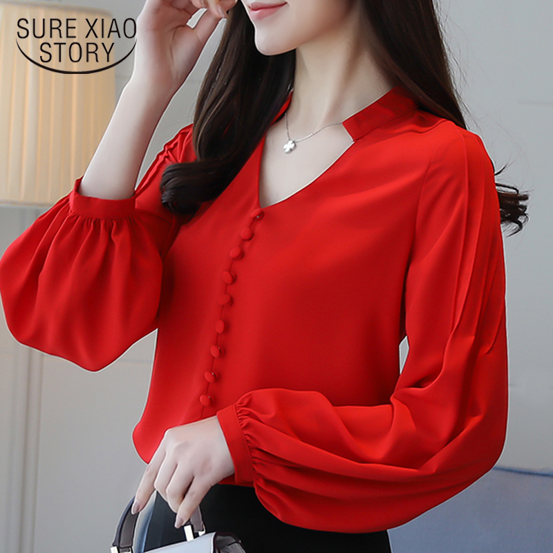 Fashion Women Blouses Long Sleeve Women Shirts Red Chiffon Blouse Shirt V-neck Office Work Wear Womens Tops And Blouses 0603 60