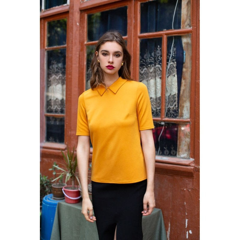 Blouse with collar. Color mustard. blouse with bowknot