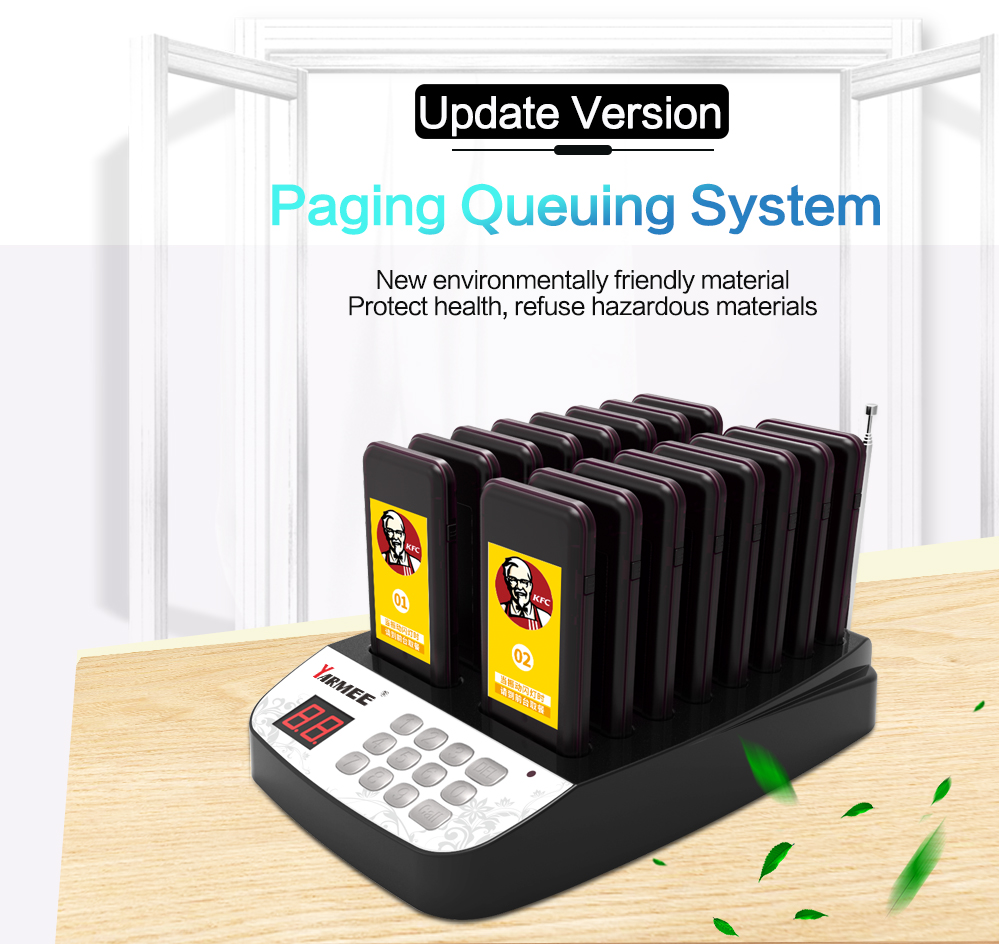 Free shipping!!! YARMEE YPS 216 Wireless Pager Queuing System Call Button Pager Restaurant Equipment 16 Receiver