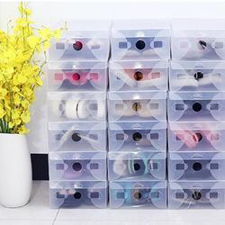 10 sztuk męska pudełko na buty z klapką przezroczyste plastikowe pudełko na buty składany do przechowywania dużej pudełko na buty przenośna pamięć masowa 33*20*12 cm