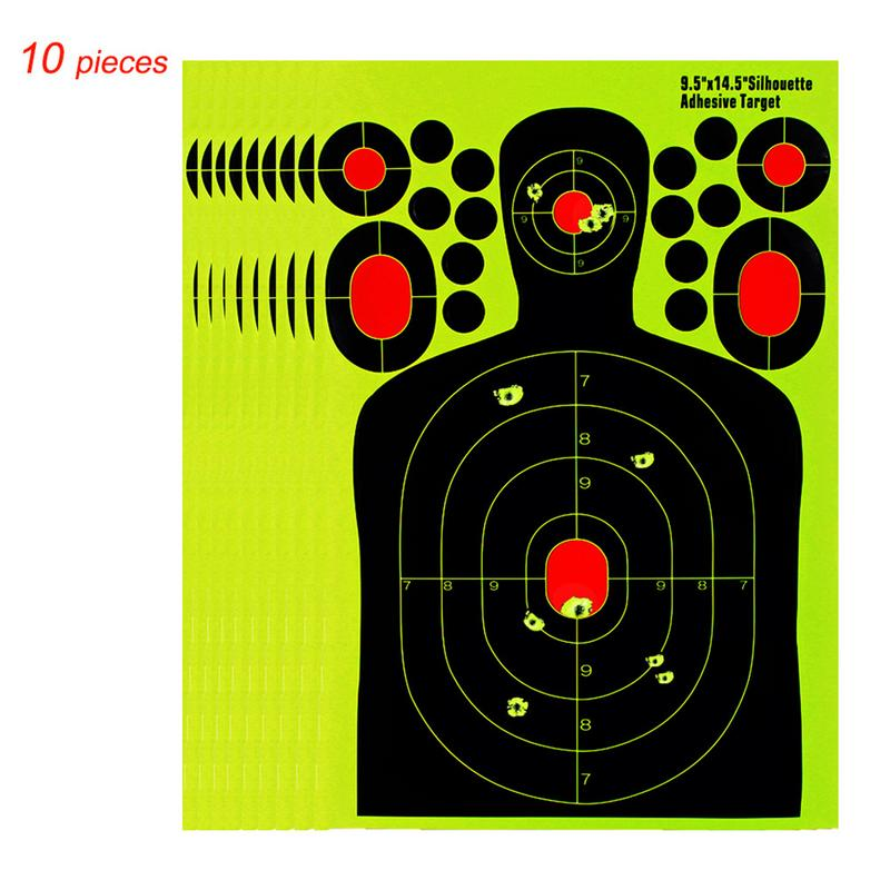 10 PCS 14.5 Inch Human Body Shape Training Target Paper Splash Effect Fluorescent Adhesive Target Paper Paper Shooting Targets