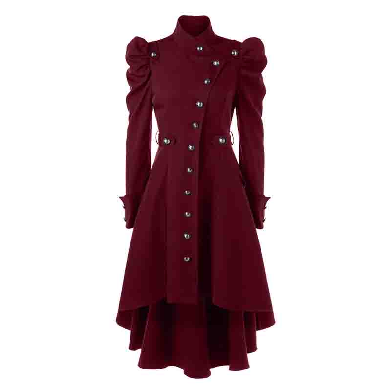 Vintage Womens Steampunk Swallow Tail Goth Long Trench Coat Jacket Blazer Suits