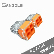 PCT-104 Terminal blocks Wire Connector Plug-in type Fast Joint 4P Connection electrical Box (100pcs)