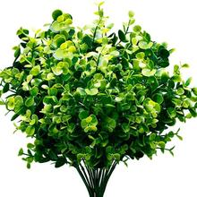 HOT SALE Artificial Plants Faux Boxwood Shrubs 6 Pack, Lifelike Fake Greenery Foliage with 42 Stems for Garden, Patio Yard, We