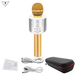Image 2 - Neue WS858 Wireless Karaoke Bluetooth KTV HIFI Lautsprecher Echo Mischer Kondensator Mic Singen treffen Mikrofon Lautsprecher PK WS 858