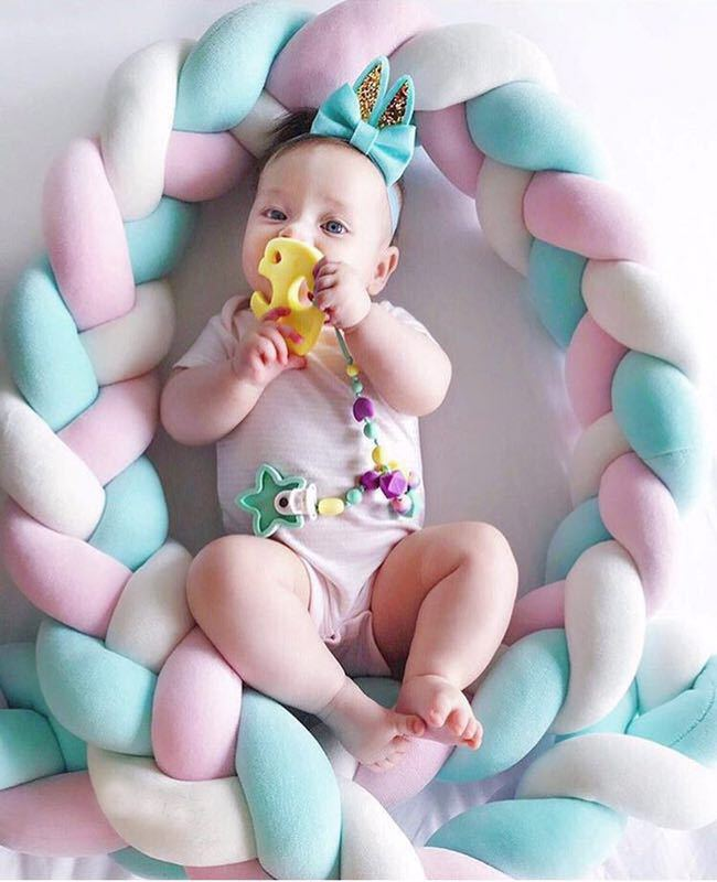 Adroit Stuffed Soft Long Braided Weave Strips Knot Ball Newborn Baby Sleep Bed Crib Bumper Pillow Cushion Set Multicolor 2m Plush Doll Buy One Give One Toys & Hobbies