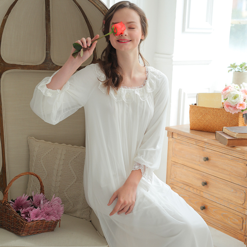 2018 Lace Sleepwear Princess Nightgown Nightwear Sexy Sleeping Dress Women Nightie Home Clothes Vestido De Noite Female White