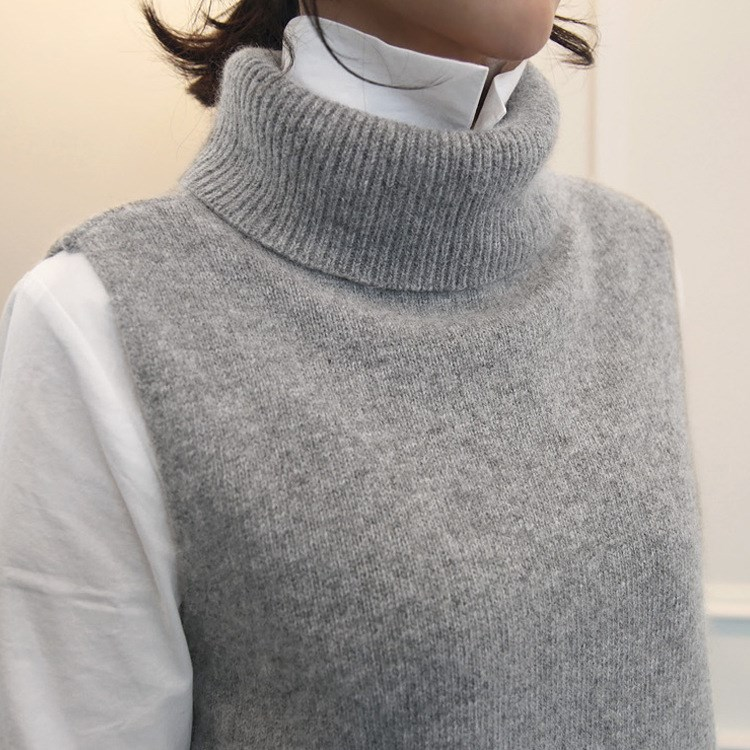 New Autumn Winter Women Knitted Sweater Vests Side Slit Cashmere Turtleneck Vest Female Sleeveless Loose Pullover