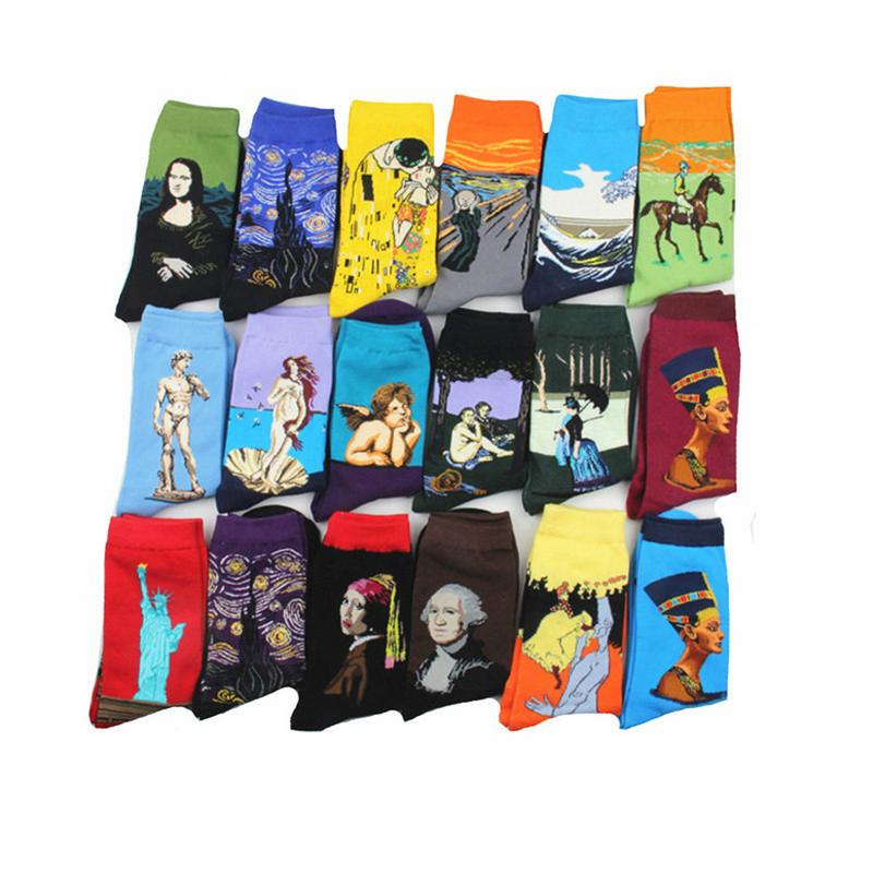 Women harajuku Funny   Socks   Personality Art Van Gogh Mural World Famous Oil Painting Series Men   Socks   Cotton   Socks   25 Colors