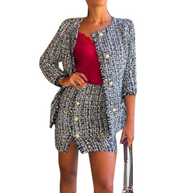 24ad3ac5b0d03 2019 New Womens Plaid Tweed Clothes Set Spring Autumn Pockets Button Jacket  Blazer Slim Fit Beaded Coat Outwear+Mini Skirt Sets