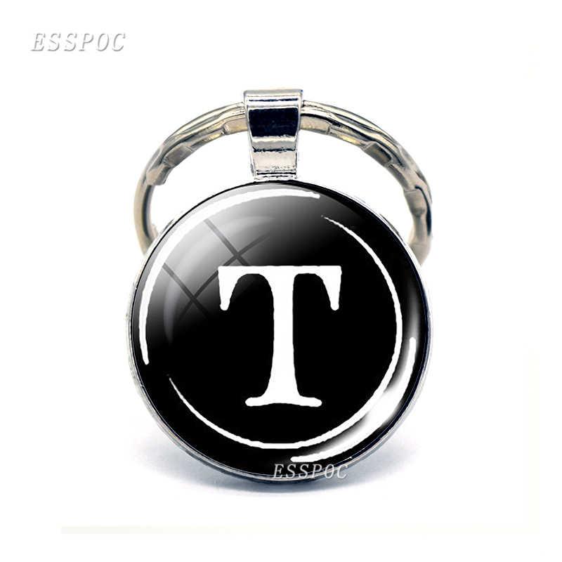 26 букв стеклянные брелки из кабошона сумка для писем автомобиль купол серебро круглый брелок кольцо аксессуары персонализированный подарок на день рождения