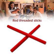 1 пара ударных инструментов деревянные Ритм палочки Красная форма нити дизайн делает его удобным для захвата подарка