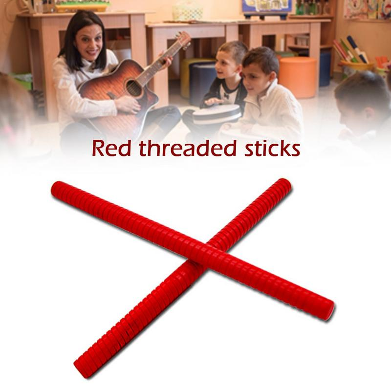 1 Pair Percussion Instruments Wooden Rhythm Sticks Red Thread Shape Design Makes It Comfortable To Grip Gift