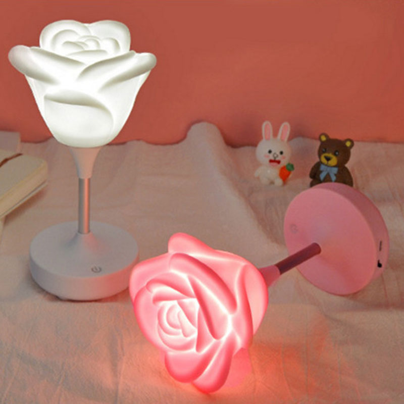 ClickDimmable Led Night Light Lamp Silicon Floral Rose For Baby Children Kids Gift Bedside Bedroom Living Room Decoration in Desk Lamps from Lights Lighting