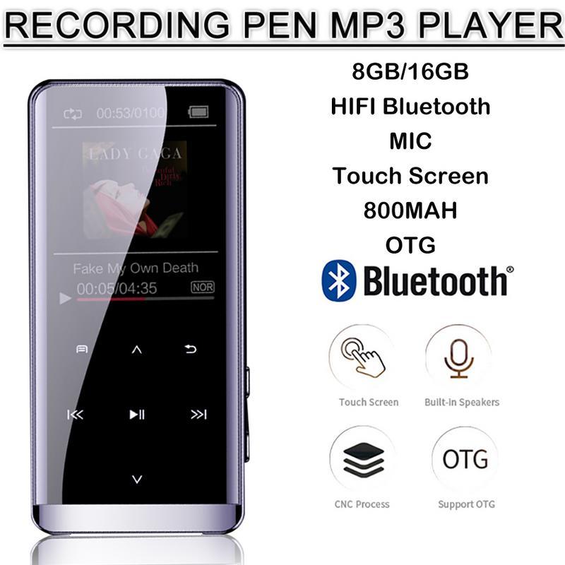 OTG MP3 Player Voice Recorder Bluetooth 4,2 Touch Screen 1,8 zoll Mini Tragbare HIFI 5D Musik Player 8 GB/ 16G Ultra dünne MP3 Playe