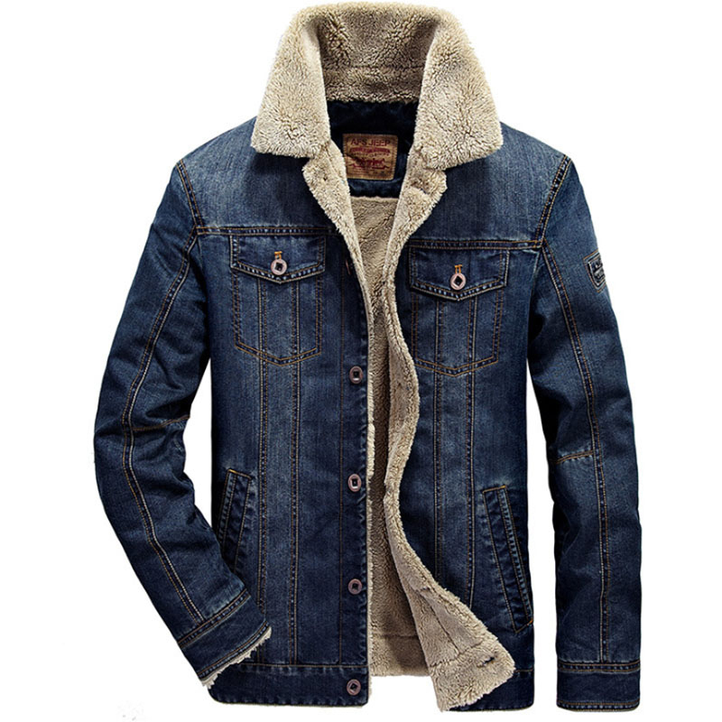 6XL Winter Men's Bomber Plush Warm Coat Outdoor Camping Climbing Trekking Jeans Jackets Windproof Cold Proof Male Windbreaker