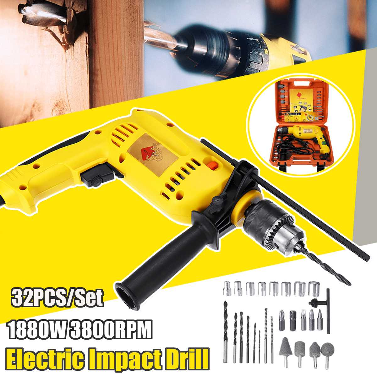220V Electric Impact Drill 1880W Brushless Motor Cordless Electrical Impact Wrench Cordless Drill Power Tools220V Electric Impact Drill 1880W Brushless Motor Cordless Electrical Impact Wrench Cordless Drill Power Tools