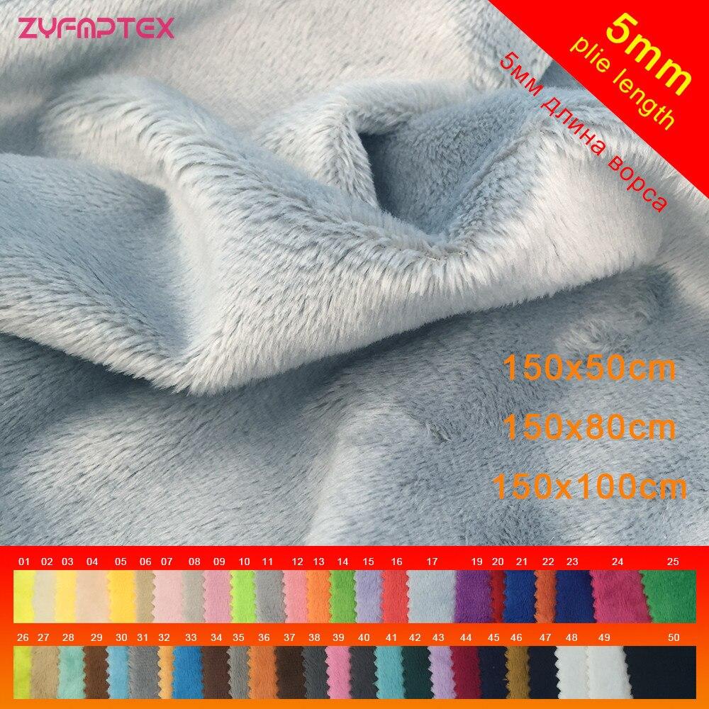 ZYFMPTEX nouveauté 5mm Pile 150x50 cm/80 cm/100 cm Tissu De Peluche De Minky Pour bricolage Couture Patchwork100 % Polyester Telas Velours Tissu