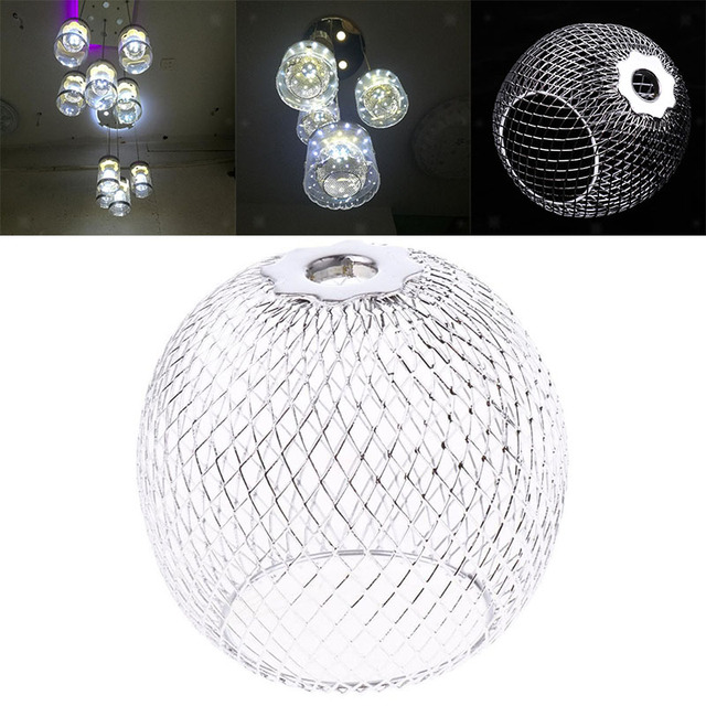 Handmade Chrome Iron Lamp Shade Round Chandelier Lampshade Hanging Light Protector Modern Craft Cage