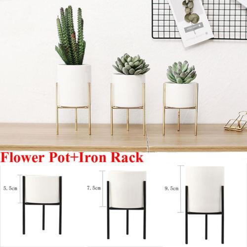 Geometric Plant Stand Metal and Ceramic Indoor Flower Pot Rack Set Garden Decor
