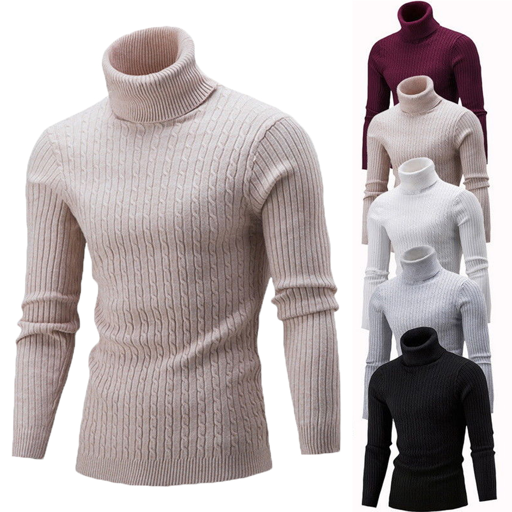 Thefound 2019 Fashion Mens Winter Knitted High Roll Turtle Neck Pullover Sweater Jumper Tops Knitwear