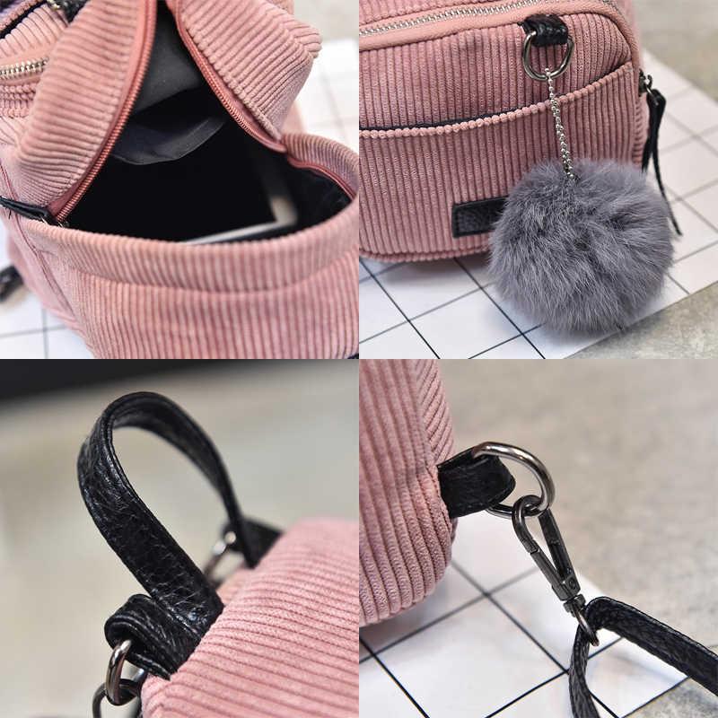 新ファッション女性のバッグコーデュロイミニバックパックガールスクールバッグショルダーバッグリュックサックコーデュロイ旅行バッグ