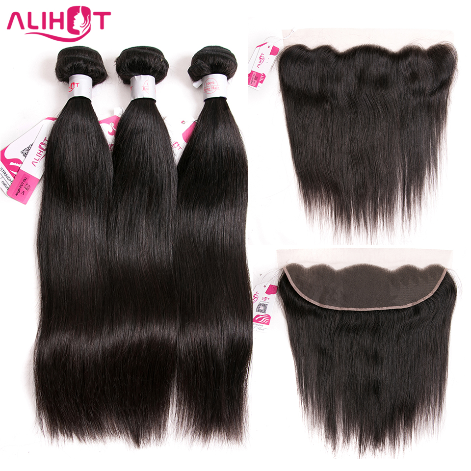 Ali Hot Hair 13x4 Lace Frontal Closure With Bundles Remy Brazilian Straight Wave Human Hair Bundles