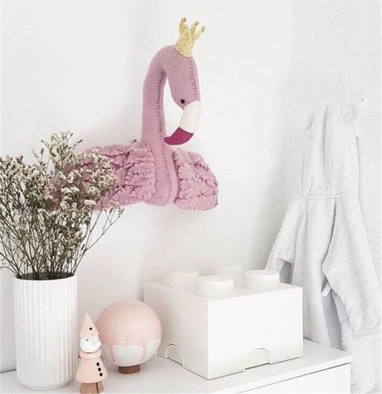 3d Фламинго животные голова стены украшения для детей Детская комната детские настенные вешалки мягкие игрушки подарок реквизит для фотосъ... - 2
