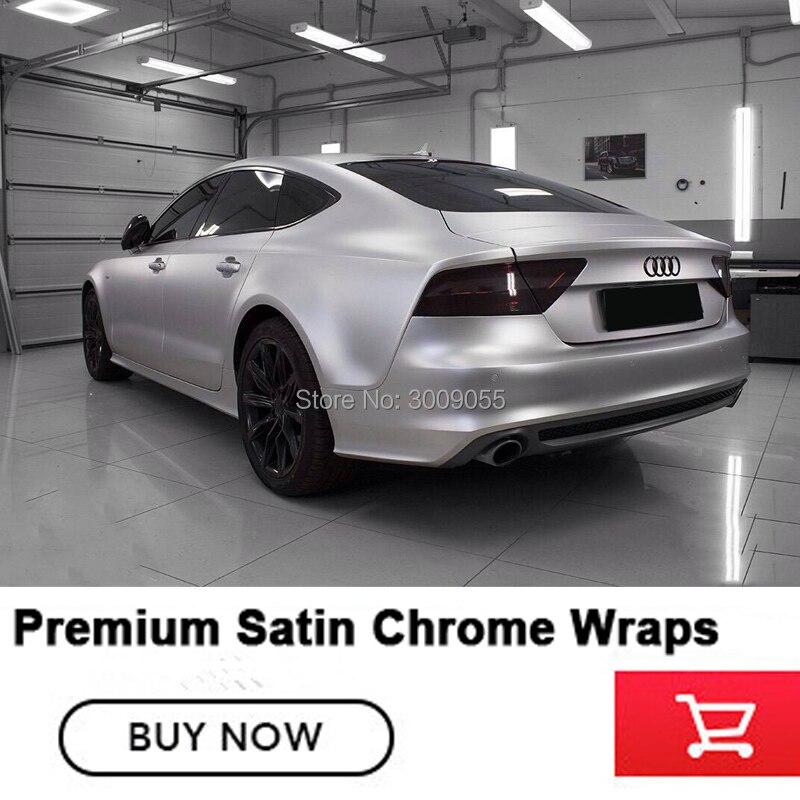De haute qualité argent vinyle de voiture wrap film d'emballage de voiture Avec Bulle D'air Libre Chrome Satiné série Importés colle Garantie qualité