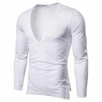Новинка 2019 года для мужчин's повседневное футболка с длинным рукавом для мужчин одноцветное цвет Sexy Глубокий V средства ухода за кожей шеи Футболка Slim Fit черный, белы