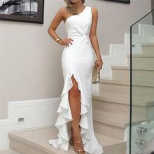 купить Women Asymmetrical Party Bodycon Dress 2018 Summer Elegant One Shoulder Twisted Ruffles Slit Hem Formal Formal Dress 3 Colors в интернет-магазине