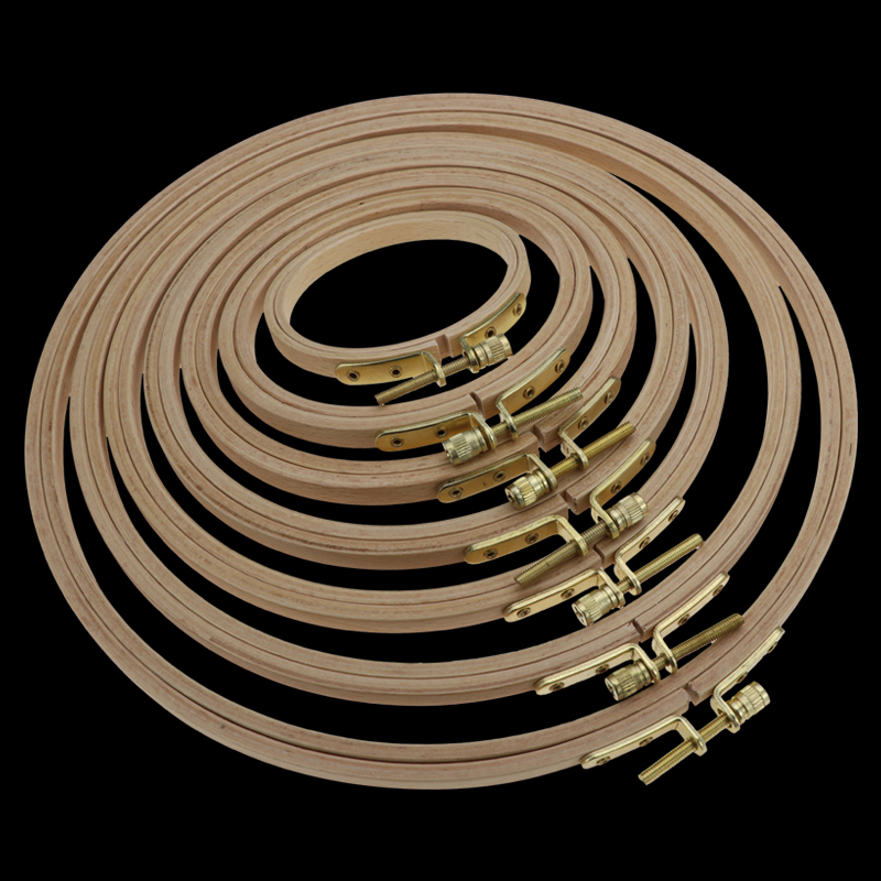 Hand Embroidery Hoop Wooden Circle Frame For Cross Stitch Embroider Round Loop Hand Household Sewing Tools 7.5-44cm