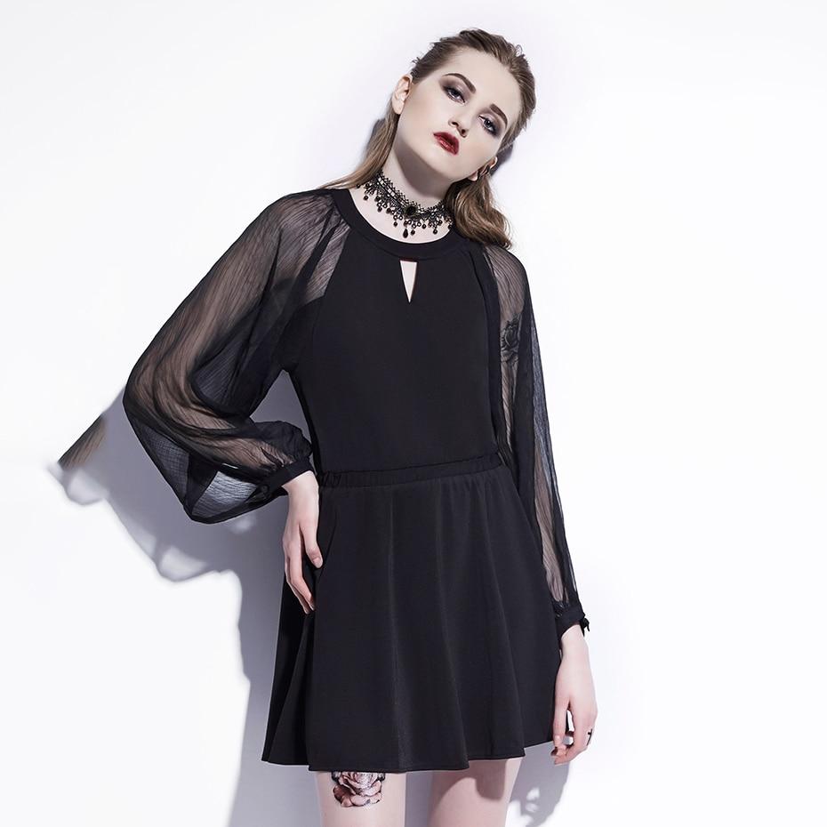 Women Black Mesh Lantern Dress Gothic Plus Size See Though Sexy Mini Dresses Goth Loose Casual Mini Dress 1
