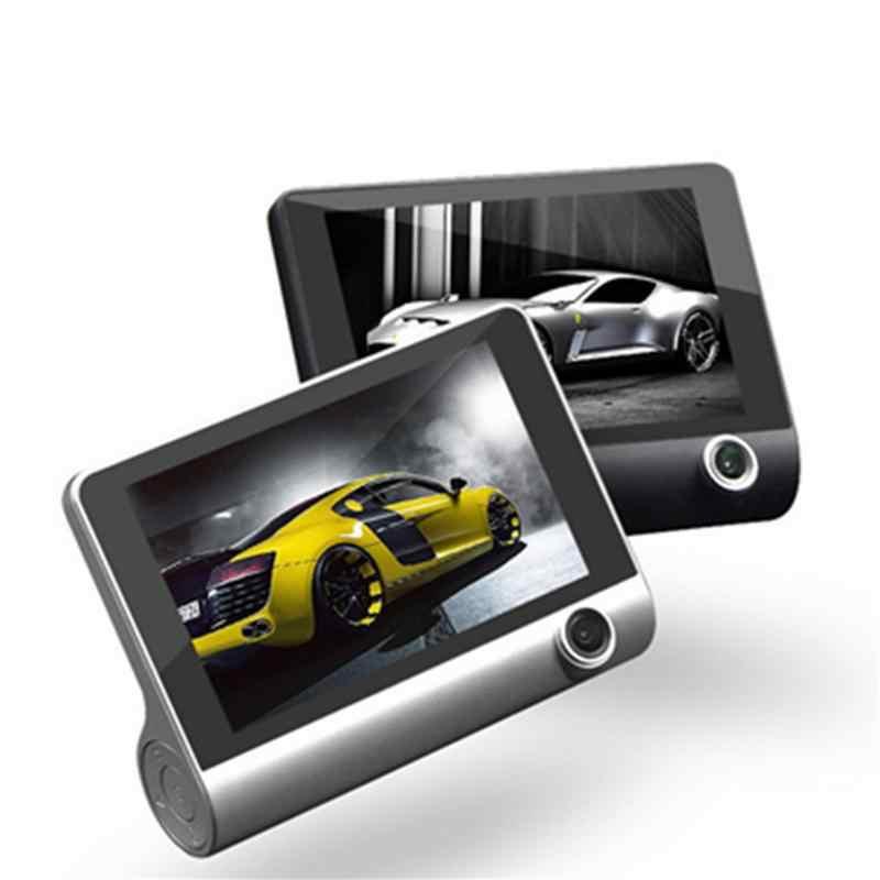 3 объектива автомобиля 4 дюйма HD 1080 P ночного видения вождения рекордер камера заднего вида мобильное Обнаружение встроенный динамик Передняя и задняя Запись DVR