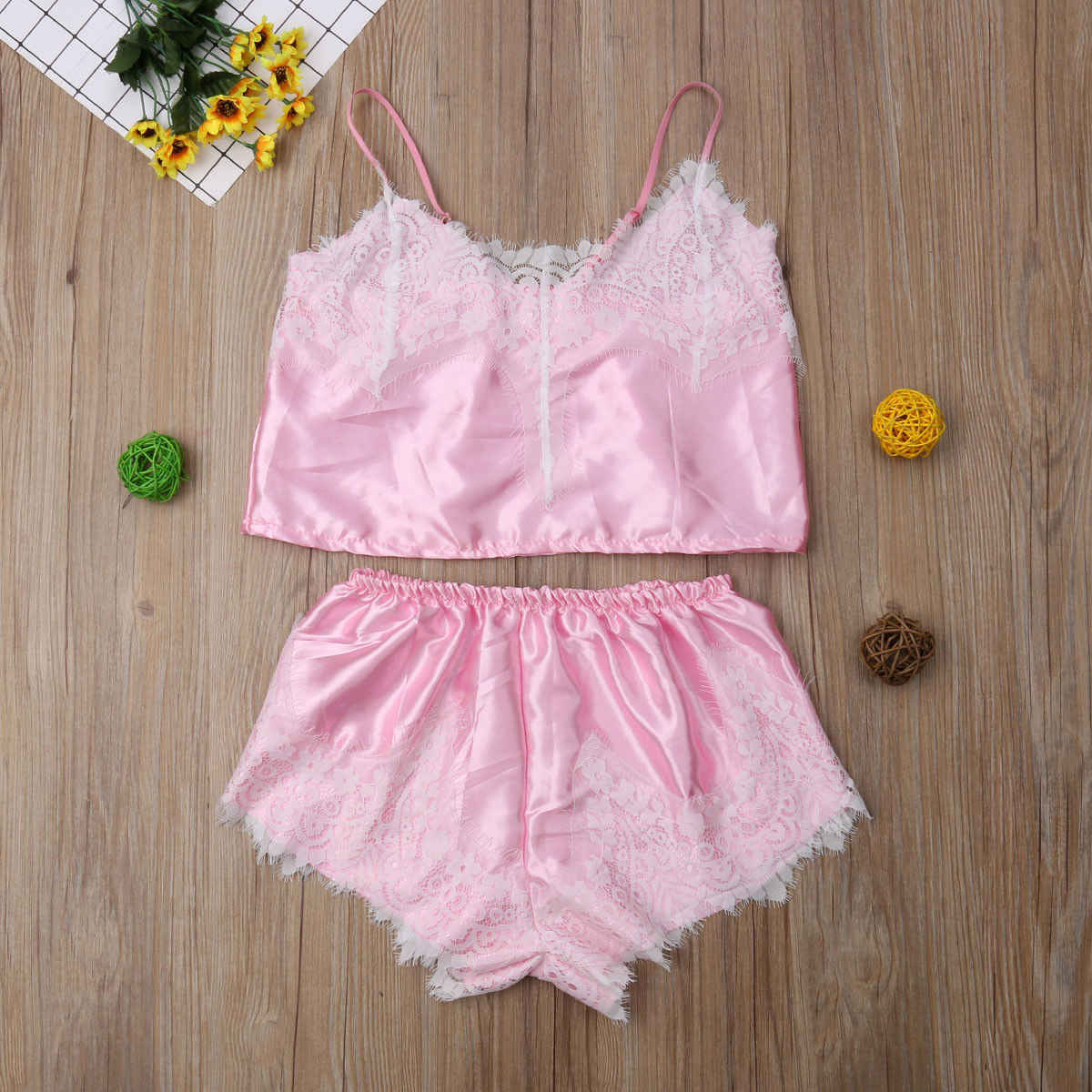 ... 2 PCS Women s Sexy Satin Lace Pajamas Babydoll Underwear Nightdress  Pajamas Set Sleeping Suits b06d0c381