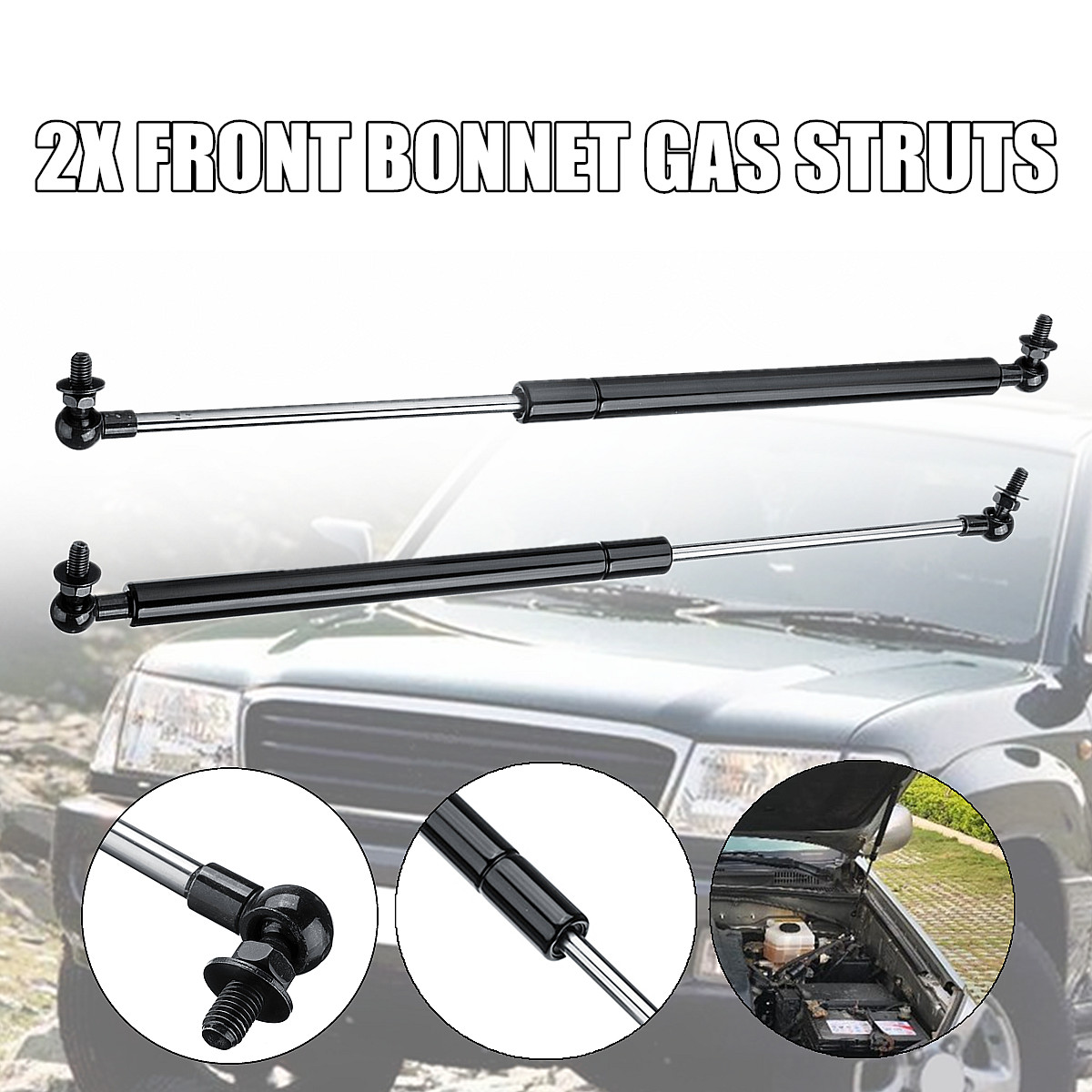 Fit for Toyota Land Cruiser 100 Series 98-07 2xFront Bonnet Gas Struts Support Steel 46cm Direct Fit Replacement Strut BarsFit for Toyota Land Cruiser 100 Series 98-07 2xFront Bonnet Gas Struts Support Steel 46cm Direct Fit Replacement Strut Bars