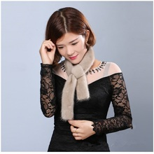 fur tippet of real mink accessory soft womens gift natural color good quality ladys thin scarf autumn 2019 spring T16