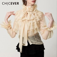 CHICEVER Summer Fashion Woman Perspective Bow Ruffles Flare Sleeves To Shirt Blouse Women Korean Fashion Clothes 2019 Fashion