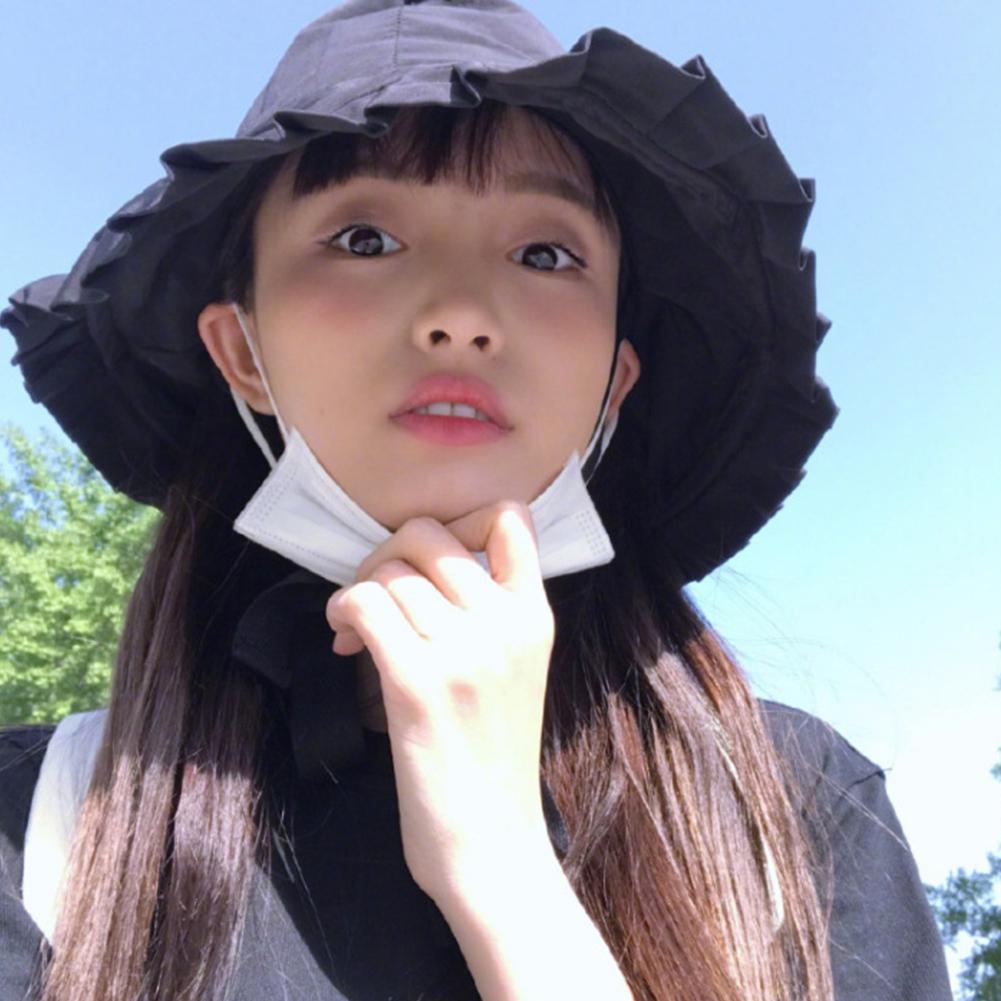 Kopfbedeckungen Für Damen Streng Missky Frauen Eimer Hüte Einfarbig Fischer Geflochten Schnürung Volant Sonnenblende Hut Weibliche Zubehör Für Sommer Eimer-hüte