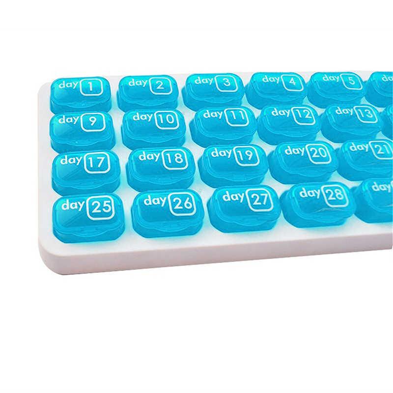 1 月ピルボックス 31 グリッドピルボックス医学ディスペンサーピルスプリッタ収納容器タブレット医学ホルダー家庭用丸薬ボックス