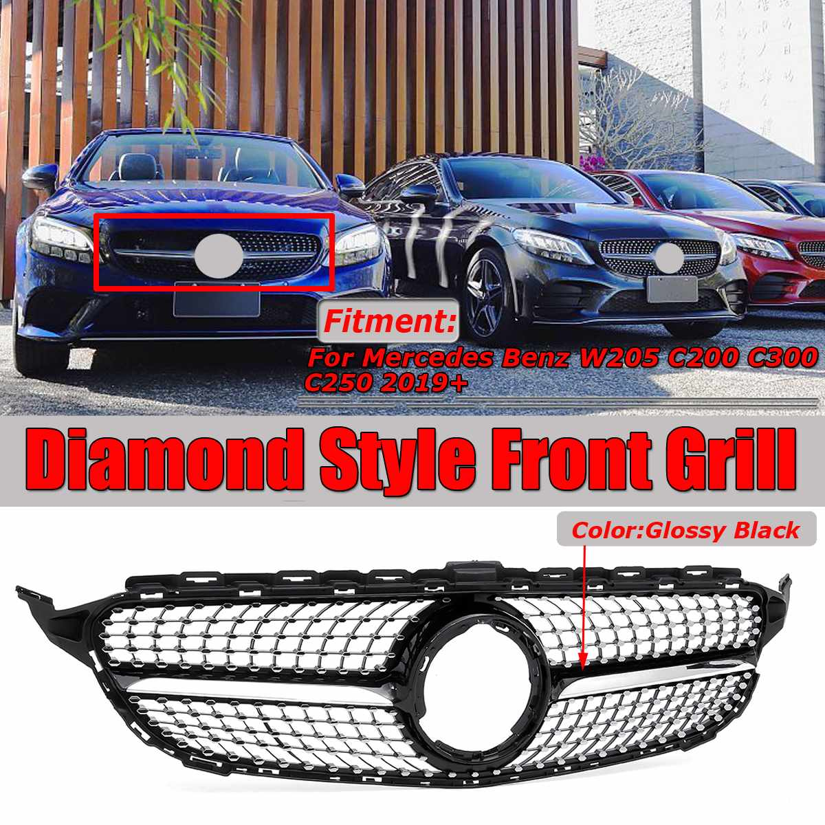 Diamond Style Car Front Grille Grill Cover Trim For Mercedes For Benz W205 C200 C300 C250