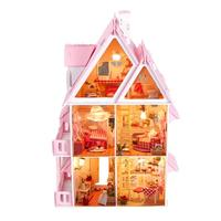 Cartoon Sunshine DIY Doll House Miniature DIY Dollhouse Models with Furnitures Wood House Toys for Children Christmas Decoration